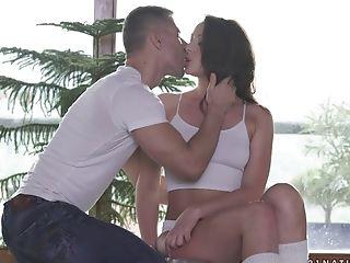 Erotic sex session with adorable brunette Carolina June