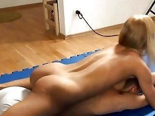 Two hot blondes dominate guy and make him to cum