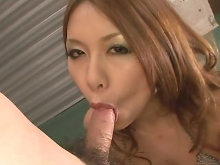 Stunning redhead chick giving a nice jerk off and blow job