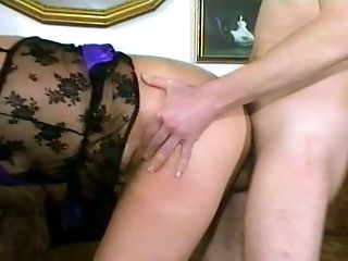 Blonde mature slut uses her shaved pierced pussy to please her man