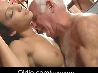 Brunette Romanian maid cleaning old dick