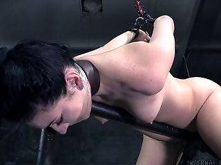 Call center girl ends up bound in a basement dungeon