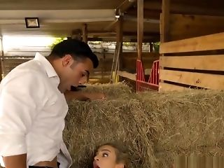Blondie Woman Blowjobs Cock And Asshole Fucked On The Hay