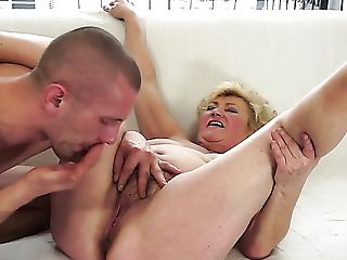 Blonde with huge knockers lets horny dude put his cock in her pussy