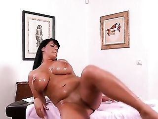 Milf Rebecca Jessop gives pleasure to herself using toy
