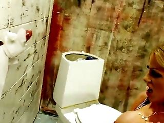 Big breasted horny blondie Cindy Behr swallows big cock through fancy hole
