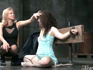 Sassy mistress punished naughty chick Endza Adair in the dark basement
