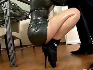 Delicious busty hoe Lucy Latex swallows massive hard dick greedily