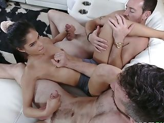 Slim girl with small but cute tits Katya Rodriguez sucks two delicious dicks