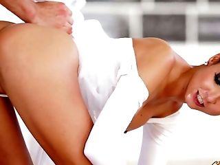 Divine ballerina Francys Belle fucks a hunk and swallows his cum