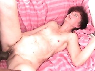 Brunette loves getting her pussy humped interracially by hot man