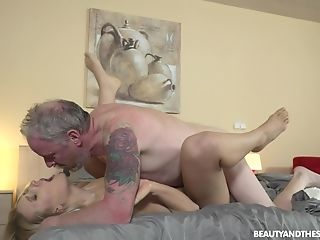 Young blondie Diane Chrystall is fucked by ugly old geezer