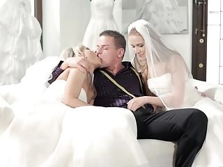 A wedding day turns to threesome with Alexis Crystal and one more bride