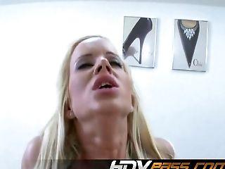 Nasty blonde Cindy Dollar fucks hard to eat cum