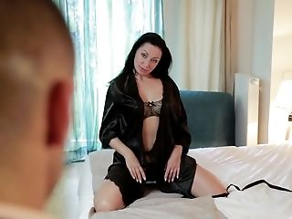 black haired beauty Eva Ann is ready for friend's hard shaft on the bed