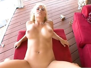 After playing with her giant boobies busty blondie Holly Heart rides stiff dick