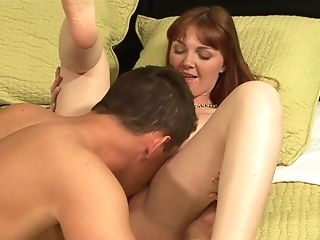 Redhead Marie McCray gives it to lucky dude and makes him ejaculate