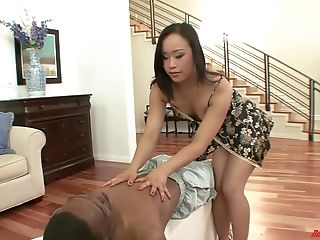 Oriental masseuse Bella Ling certainly needs some rough black cock treatment