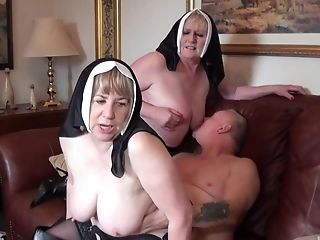 Nuns fuck with the monk in crazy threesome fetish