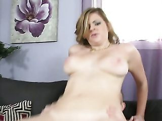 Blonde Keiyra Lina with massive breasts polishes lucky dudes throbbing tool with her lips