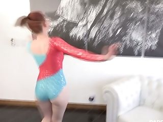 Red haired gymnast in leotard Athena Rayne gives her head and gets fucked