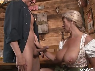Busty German frau with pierced pussy Maria Montana fucks one dude in the pub