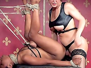 Cute black girl in rope bondage fucked by a rubber dick