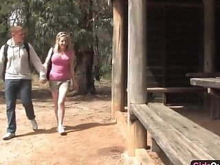 Dirty Australian blonde tourist fucked in the bush