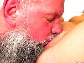 Seductive young babe Liza Shay enjoying Albert's ancient cock