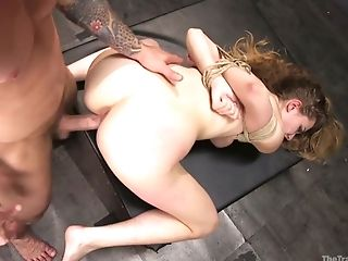 Kinky dude punishes sex-appeal tied up babe Samantha Hayes in the basement