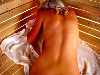 Bosomy blond mommy Lu Elissa took fake cock and went to sauna to masturbate