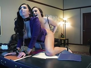 Horny Chanel Preston and one more girl enjoy lesbian sex in the office