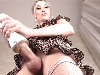 Hot blonde TS big cock masturbation on cam