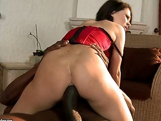 Stunning cowgirl in thong screaming as the big black cock stretches her tight anal