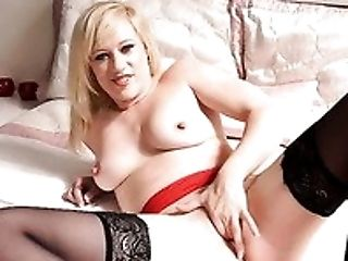 Beauty, Bedroom, Blonde, Cute, Housewife, Jerking, Lingerie, Masturbation, Nylon, Solo,