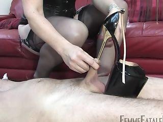 BDSM, Brunette, Couch, Femdom, Fetish, Foot Fetish, High Heels, Horny, Lingerie, Makeup,