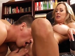 Mid age blonde teacher with tight fake boobs Brandi Love is making her young student guy Bruce Venture to lick her twat.