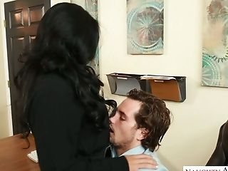 Sultry and hot brunette babe eats dick and fucks in the office