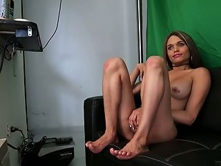 Gorgeous tanned tranny Sofia Obregon gives interview after sex