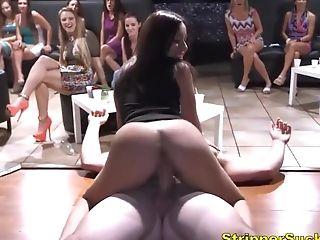 Shameful Scenes Of Sneaky Sluts Sucking & Fucking At CFNM Stripper Event