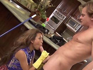 Japanese wife Kina Kai fucked in the kitchen by her partner